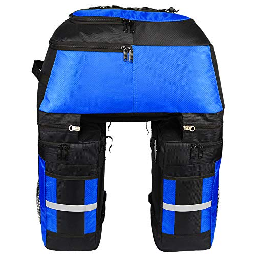 Lixada Multifunktion Fahrrad Gepäcktaschen, 3 in 1 Reißfest 70L Groß Fahrradtaschen für den Rücksitz (Blau)