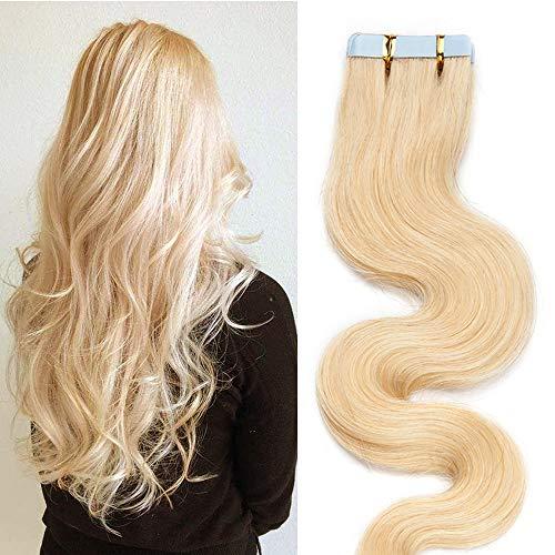 SEGO Adhesive Extension Cheveux Naturel Wave 20 pcs 50g - 45 CM 613#Blond Blanchi - Rajout Bande Adhesif Humain Tape in Human Hair