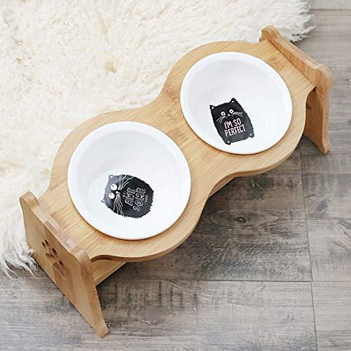 LIZONGFQ Höhenverstellbarer Futterhalter für Haustiere mit keramikschalenhalsschützendem Holzständer-Futterwasserschale für Katzen Hunde Haustierbedarf,F