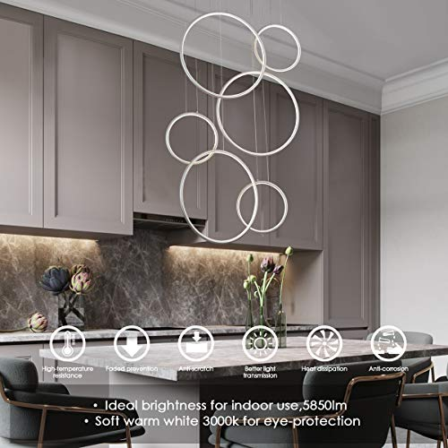 ROYAL PEARL Foyer Chandelier Contemporary LED Adjustable 6-Rings Modern Pendant Lighting for Living Dining Room Bedroom Hallway Silver 130W