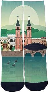 Custom Men's Women's Retro Bosnia and Herzegovina Sarajevo Travel Poster Socks Novelty Cartoon Creative Casual Crew Socks
