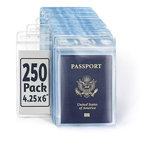 EcoEarth Passport & Vaccine Card Holders (Clear, 4x6 Inch, 250 Pack), Extra Large Vertical ID Holder, Zipperless Plastic Name Badge Holders