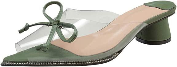 Loosebee◕‿◕ Womens Solid Transparent Low Heel Wedge Sandals Peep Toe Slipper Wedding Party Flats Shoes Roman Sandals