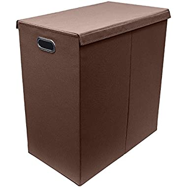 Sorbus Laundry Hamper Sorter with Lid Closure – Foldable Double Hamper, Detachable Lid and Divider, Built-In Handles for Easy Transport - (Chocolate)