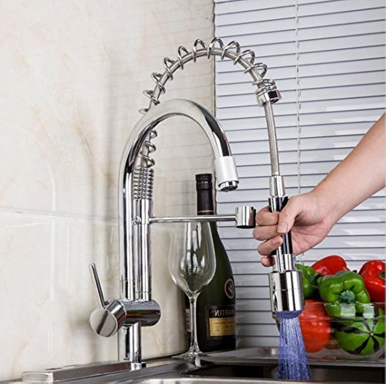 Gowe Double verspritzt LED Küche Armaturen Single Griff Chrom, Spüle Küche Armatur Mischbatterie Wasserhahn