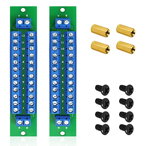 WayinTop PCB Double-Layer Wiring Power Distribution Board Kit, 2 x 12 Position Power Distribution Module + 4 x 10mm M3 Brass + 8 x M3 Screw Nuts, 2 Inputs 2 x 13 Outputs for DC AC 24V 10A