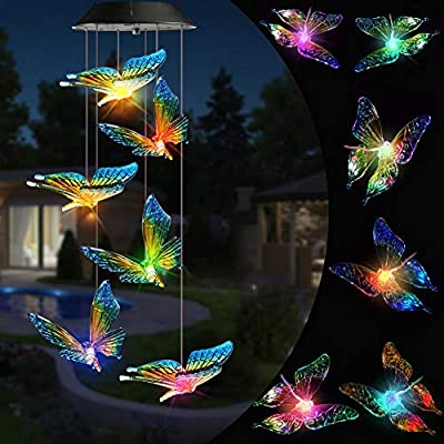 Toodour Solar String Lights, Color Changing Solar Butterfly Wind Chimes, LED Decorative Mobile, Waterproof Outdoor String Lights for Patio, Balcony, Bedroom, Party, Yard, Window, Garden