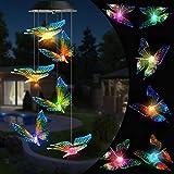 Qedertek Halloween deko Garten Windspiele für Draußen, Solarleuchten LED Mobile Windspiele Farbwechsel, Solarbetriebene Gartenlampe Hängeleuchte für Garten, Hof, Rasen, Hinterhöfe (Schmetterling)