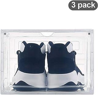 Shoe Boxes Grande Boîte a Chaussures en Plastique Épais,Lot de 3 Boîtes a Chaussures de Rangement Amovibles Magnétiques Tr...