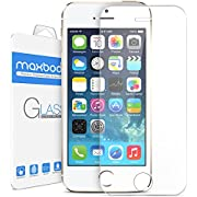 iPhone 5S Screen Protector, iPhone 5 Screen Protector, iPhone 5C Screen Protector - Maxboost iPhone 5S 5 5C Glass Screen Protector - [Tempered Glass] World's Thinnest Ballistics Glass, 99% Touch-screen Accurate, Round Edge [0.2mm] Ultra-clear Glass Screen Protector Perfect Fit for Apple iPhone 5 / 5S / 5C (Lifetime No-Hassle Warranty)
