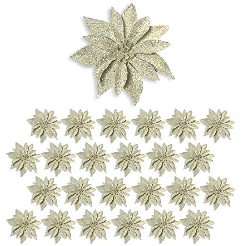 BANBERRY DESIGNS Artificial Poinsettia Flowers - Set of 24 White Glittered Clip-On Ornaments - Floral Accessories