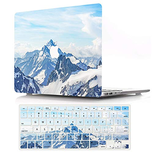 AJYX MacBook Pro 13 inch Case 2020 2019 2018 2017 2016 Release A2338 M1 A2289 A2251 A2159 A1989 A1706 A1708, Plastic Hard Shell Case Cover & Keyboard Cover for New Mac Pro 13 - Snow Mountain