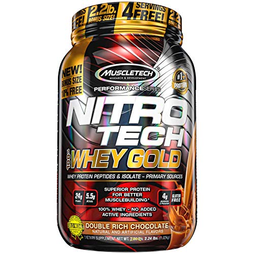 MuscleTech NitroTech Whey Gold Protein Powder, Whey Isolate and Peptides, 24 Grams Protein, 5.5 Grams BCAAs, Easy to Mix, Tastes Great, Gluten-Free, Double Rich Chocolate, 2.2 Pounds (31 Servings)