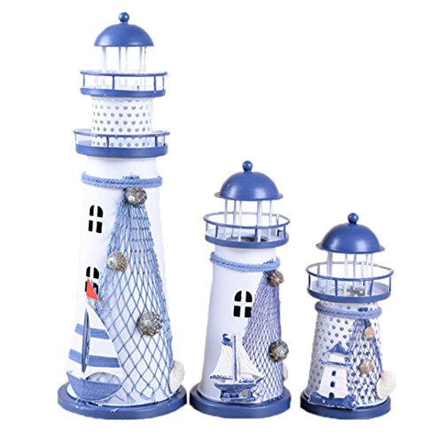 House Decoration LED Night Light Color Changing Vintage Ocean Lighthouse Wedding Lamp,Mediterranean Style (Small)