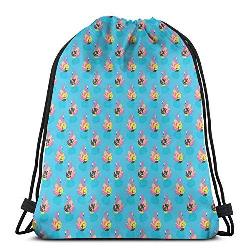 LLiopn Drawstring Sack Backpacks Bags,Summer Season Holiday Themed Illustration Girls On Flamingos In Pool Exotic Vacation,Adjustable.,5 Liter Capacity,Adjustable.