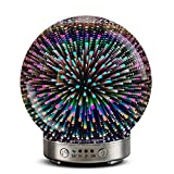 Essential oil diffuser - 120ml 3D glass starry sky Aromatherapy Oil Diffuse cold mist ultrasonic humidifier, equipped with 7 color LED light, suitable for home, office.