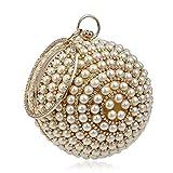 Bolsos Mujer Bolso De Noche con Borla De Perlas Completas para Mujer Bolso De Embrague De Cadena Mujer Banquete De Boda Bolso Esférico De Banquete Oro