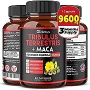 Premium Tribulus Terrestris + Maca, 9600mg Per Capsule, 3 Months Supply, Highest Potency with Ashwagndha, Panax Ginseng, Boost Energy, Mood, Stamina & Performance, for Men & Women