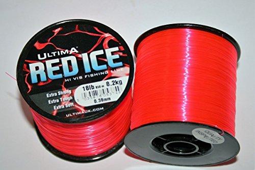 ultima Red Ice Ligne de Pêche Extra Fort Haute visibilité - Bobine de 115gr pour Hommes, Rouge Fluo, 0.50mm-30.0lb/13.6kg