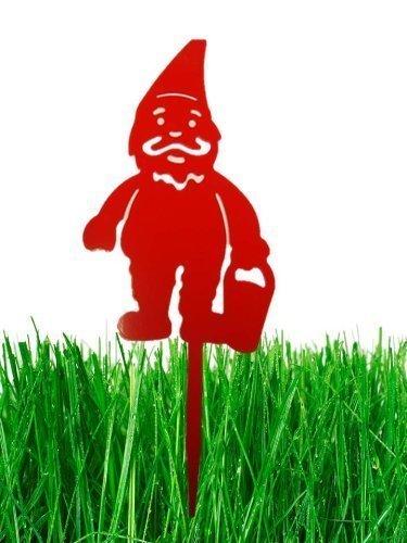 Gartenzwerg Zwerg Garten Deko Zwerge mit Spiess von Mr.Krieger in Farbe rot Höhe 40 cm