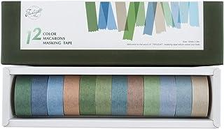 Yubbaex マスキングテープ モランディ塩の色 12巻 薄いです プレゼント包装、DIY工芸品、ノートの装飾に使える (塩の色, 15mm幅 x 12巻)