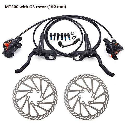 HinGu-Disc brake MT200 Bremse Fahrrad MTB Hydraulische Scheibenbremse Set Clamp Mountainbike Bremse Update for M315 Bremse W/N G3 / Hs1 Rotor (Color : MT200 with G3)