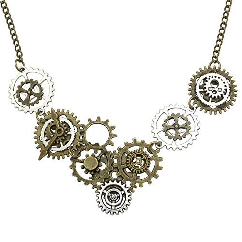 RechicGu Style A Watch Clock Clockwork Hand Gear Cog Steampunk Necklace Vintage Gold and Silver
