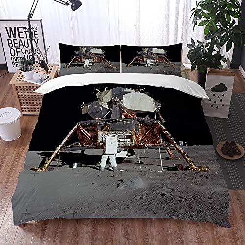 Juego de Fundas de edredón,Aterrizaje Lunar Apolo 11 Zumbido Aldrin Luna Lunar Luna Antideslizante,Fundas Edredón 200 x 200 cmcon 1 Funda de Almohada 40x75cm