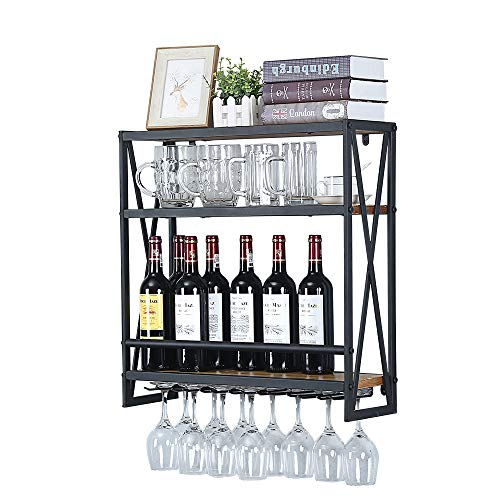 Industrial Wine Racks Wall Mounted with 6 Stem Glass Holder236in Rustic Metal Hanging Wine Holder Wine Accessories3-Tiers Wall Mount Bottle Holder Glass RackWood Shelves Wall ShelfBlack