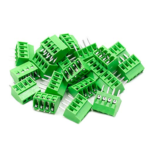 TOUHIA 2.54mm Pitch 4-Pin PCB Mount Screw Terminal Block Connector for Arduino, Rated 150V 6A - Pack of 20