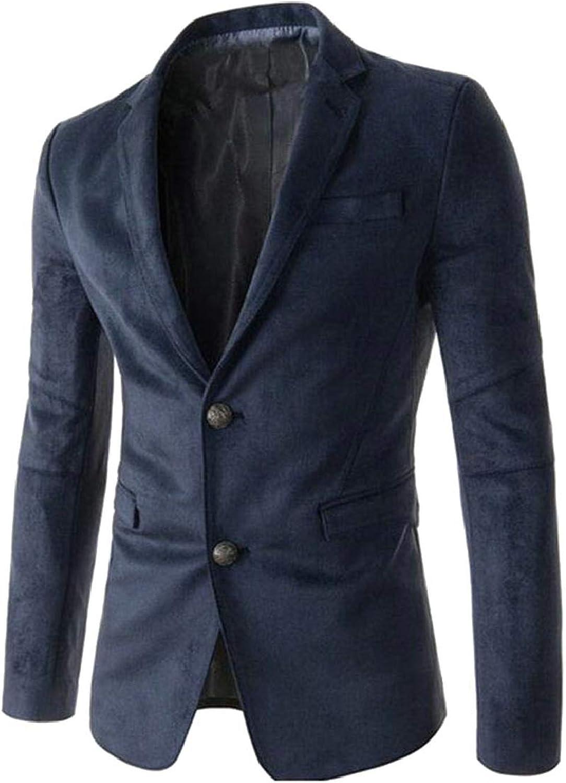 QD-CACA Men's Slim Jacket Two Button Suede Coat Business Lapel Blazer