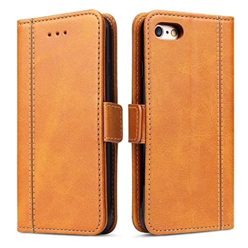 Bozon iPhone 6 Plus Hülle, iPhone 6S Plus Leder Tasche Handyhülle für iPhone 6 Plus/iPhone 6S Plus Schutzhülle Flip Wallet mit Ständer & Kartenfächer/Magnetverschluss (Braun)