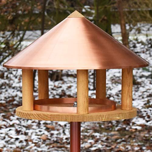 VOSS.garden Vogelhaus Kopenhagen Dänisches Design 40cm Durchmesser, doppelt gebeizte helle Fichte, Vogelfutterstation Vogelhäuschen Futterhaus Vogelvilla