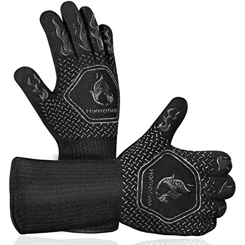 Homemaxs BBQ Gloves 1472℉ Extreme Heat Resistant Grill Gloves, Food Grade Kitchen Oven Mitts, Silicone Non-Slip Cooking Gloves