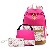 Sunborls Pastoral Canvas Schoolbag for Girls Printing Lightweight High-capacity Middle Student Bookbag Women College Elegant Backpack with Lunch+Purse/Pencil bag 3 in 1(rose red)