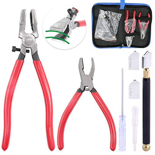 Glarks 4Pcs Heavy Duty Glass Running Pliers Tools Set, Breaker Grozer Plier with Glass Cutter and Pencil Style Oil Feed Carbide Tip Glass Cutter for Mosaic/Tiles/Mirror/Stained Glass Cutting