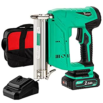 21V 18 Gauge 2 in 1 Cordless Brad Nailer & Stapler TEWLEN Electric Nail Gun/Staple Gun with 2Ah Rechargeable Lithium-ion Battery & Fast Charger for Upholstery,Carpentry,Woodworking  Green