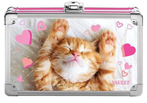 Vaultz Locking Supplies & Pencil Box with Key Lock, 5'x 2.5'x 8.5', Love Kitten (VZ00773)