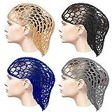 Haishell 4 redecillas para el pelo de ganchillo, red de noche para el pelo largo, elástica, para mujeres y niñas