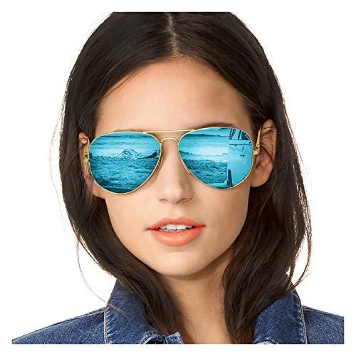 SODQW Pilotenbrille Sonnenbrille Damen Verspiegelt Polarisiert Mode Flieger Brille für Autofahren Angeln Metallrahmen 100% UVA/UVB Schutz (Goldrahmen Blaue Linse)