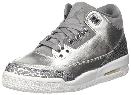 Nike Nike Jungen Air Jordan 3 Retro Prem Hc Basketballschuhe, Silber (Metallic Silvercool Greywhite), 38.5 EU