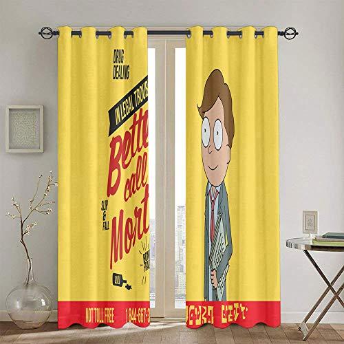 Par de paneles de cortina de ventana para dormitorio Rick y Morty cortinas con ojales para cocina de 213 x 213 cm