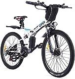 VIVI Velo Electrique Pliable, 26' VTT Électrique 250W Vélo Électrique Adulte avec Batterie Amovible 8Ah, Professionnel 21 Vitesses, Suspension Complète (Blanc)