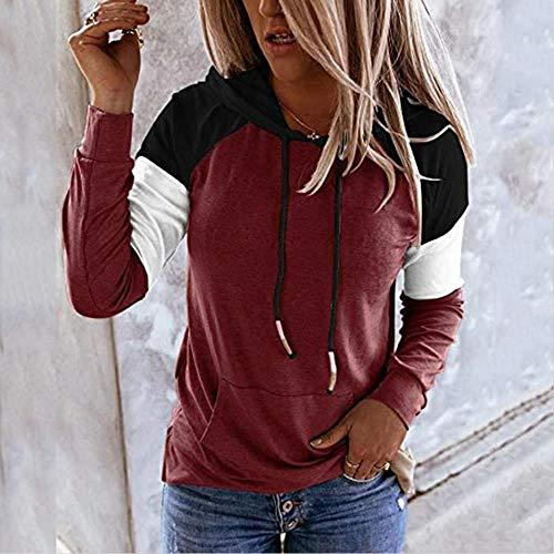 QSDM Camisetas y Blusas para Mujer Sudaderas de Mujer Tops Suéter de Mujer con Capucha Casual Suelto de Manga Larga Casual de Color a Juego para Mujer-Sombrero Negro Hechizo Rojo Vino_L