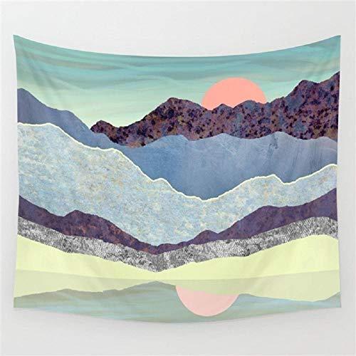 AdoDecor Tapiz de Paisaje Abstracto Tela de Pared montaña Sol Tapiz Rosa Colgante de Pared Hippie Boho Dormitorio cabecera decoración Arte 150x110cm