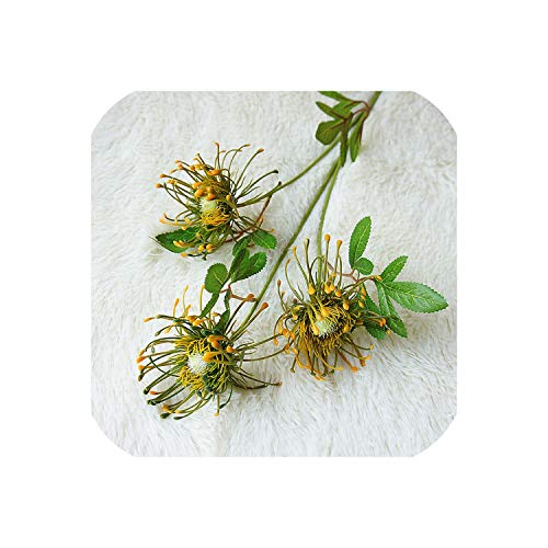 Delen levens 3Heads/Tak Kunstbloemen voor Bruiloft Decoratie Flores Kunstbloemen Plastic Nep Bloemen, Groen aspicture ORANJE