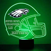Mirror Magic Light Up LED Lamp - Football Helmet Night Light for Bedroom with Free Personalization - Features Licensed Decal and Remote (Philadelphia Eagles)