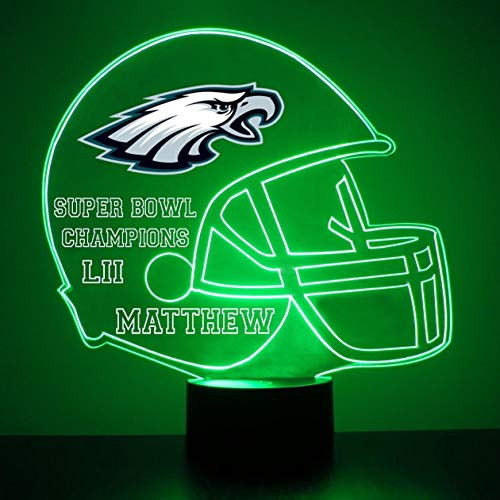 Mirror Magic Store Philadelphia Eagles Football Helmet Sports Fan Lamp/Night Light - LED - Personalize for Free - Featuring Licensed Decal