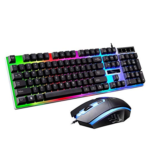 Y-hm Sensación cómoda 104 Teclado Clave Teclado y 1600dpi Juego de Juegos de ratón de Juego óptico Diseño portátil (Color : White)