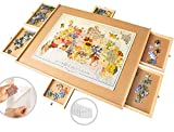 LEADING PUZZLE TABLE SET : The ultimate design for all puzzlers. Constructed to create an efficient, enjoyable way to assemble and store your 1500 piece puzzles. With 6 drawers, 9 glue sheets, and 3 hangers, you can not only create beautiful puzzles ...